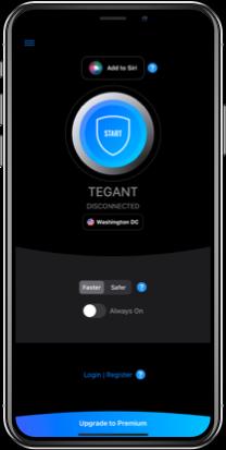 Tegant VPN on iPhone (dark mode)