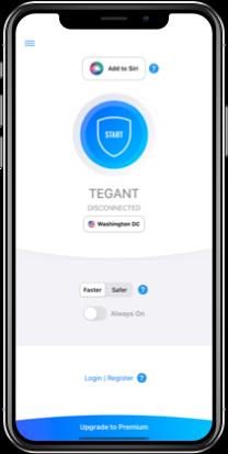 Tegant VPN on iPhone (light mode)